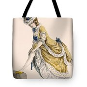 Lady Pulling Up Her Stocking, Engraved Tote Bag