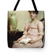 Lady Reading Tote Bag
