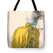 Lady Reclines On Chair Drinking Tote Bag