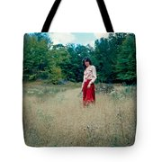 Lady Standing In Grass 2 Tote Bag