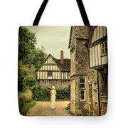 Lady Walking In The Village Tote Bag by Jill Battaglia