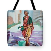 Lady Washing Clothes Tote Bag