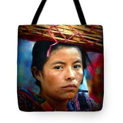 Lady With A Basket Tote Bag