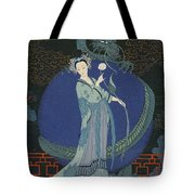 Lady With A Dragon Tote Bag