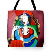 Lady With A Red Hat Tote Bag