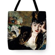 Lady With Fan Portrait Of Marie Anne De Callias Known As Nina De Callias Tote Bag