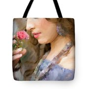 Lady With Pink Rose Tote Bag