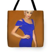 Lady With The Blue Dress Tote Bag