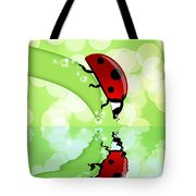 Ladybug On Leaf Looking At Water Reflection Tote Bag