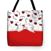 Ladybug Red And White  Tote Bag