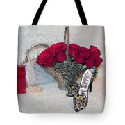Purse Red Roses Jewelry Diamonds Tote Bag