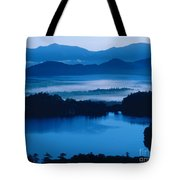 Lake And Moor In Mist Tote Bag