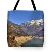 Lake And Snow-capped Mountain Tote Bag