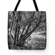 Lake Bench In Black And White Tote Bag