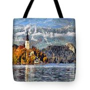 Lake Bled And Mountains Tote Bag