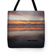 Lake Cassidy Reflections Dramatic Clouds Tote Bag