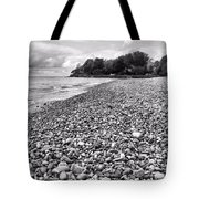 Lake Erie Coast Black And White Tote Bag