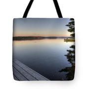 Lake In Autumn Sunrise Reflection Tote Bag
