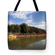 Lake Inlet With Dredger Tote Bag