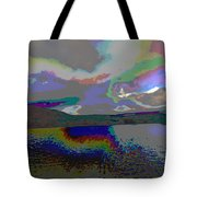 Lake Land And Sky Digitally Painted Photograph Taken Around Poconos  Welcome To The Pocono Mountains Tote Bag