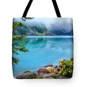 Lake Louise On A Cloudy Day Tote Bag