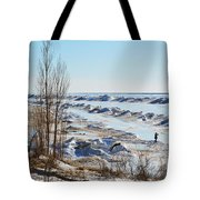 Lake Michigan In Ice Tote Bag