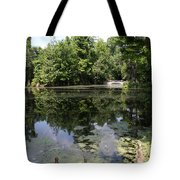 Lake On The Magnolia Plantation With White Bridge Tote Bag