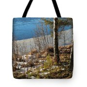 Lake Partly Covered With Ice In Early Spring Tote Bag