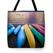 Lake Quinault Kayaks Tote Bag by Inge Johnsson