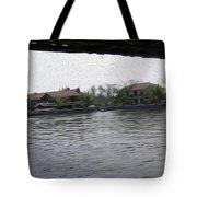 Lake Resort Framed From A Houseboat Tote Bag
