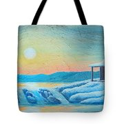 Lake Sunrise And The Old Cabin Tote Bag