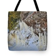 Lake Superior Icicle Shoreline Tote Bag