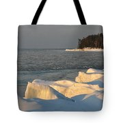 Lake Superior Winter Sunset Tote Bag