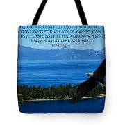 Lake Tahoe Eagle Proverbs Tote Bag