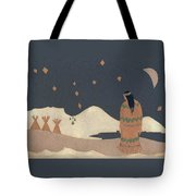 Lakota Woman With Winter Constellations Tote Bag by Dawn Senior-Trask