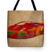 Lamborghini Gallardo 2013 Classic Sports Car Watercolor On Worn Distressed Canvas Tote Bag