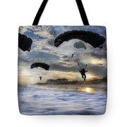 Landing At Sunset Tote Bag