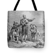 Landing Of The Pilgrims, 1620, Engraved By A. Bollett, From Harpers Monthly, 1857 Engraving B&w Tote Bag