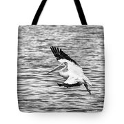 Landing Pelican In Black And White Tote Bag