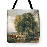 Landscape Cattle In A Stream With Sluice Gate Tote Bag