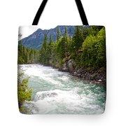 Landscape Of Mcdonald Creek Upstream In Spring In Glacier Np-mt Tote Bag