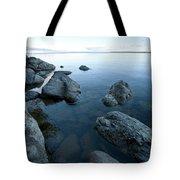 Landscape Of Rocks Along Shoreline Tote Bag