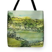 Landscape Pen & Ink With Wc On Paper Tote Bag