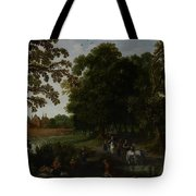 Landscape With A Courtly Procession Before Abtspoel Castle Tote Bag by Esaias I van de Velde