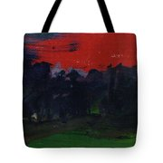 Landscape With A Red Sky Oil On Canvas Tote Bag