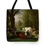Landscape With Cattle And Sheep Tote Bag