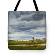 Landscape With The Dezwaan Dutch Windmill On Windmill Island In Holland Michigan Tote Bag
