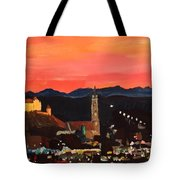Landshut At Dawn With Alps Tote Bag
