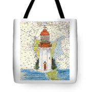 Langara Pt Lighthouse Bc Canada Nautical Chart Map Art Tote Bag
