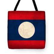 Laos Flag Vintage Distressed Finish Tote Bag